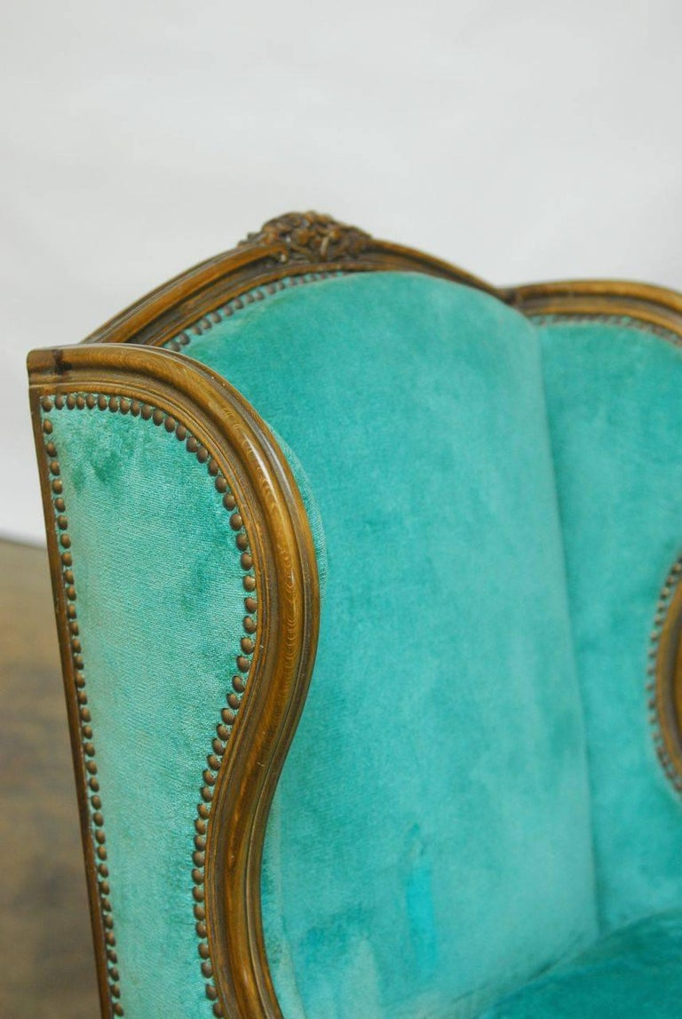 Pair of Louis XV Style Turquoise Velvet Wingback Bergères In Good Condition For Sale In Oakland, CA