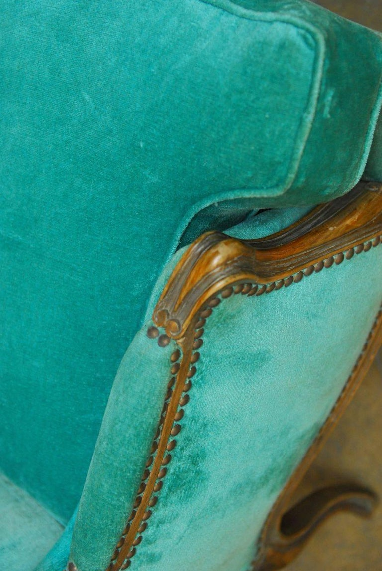 19th Century Pair of Louis XV Style Turquoise Velvet Wingback Bergères For Sale