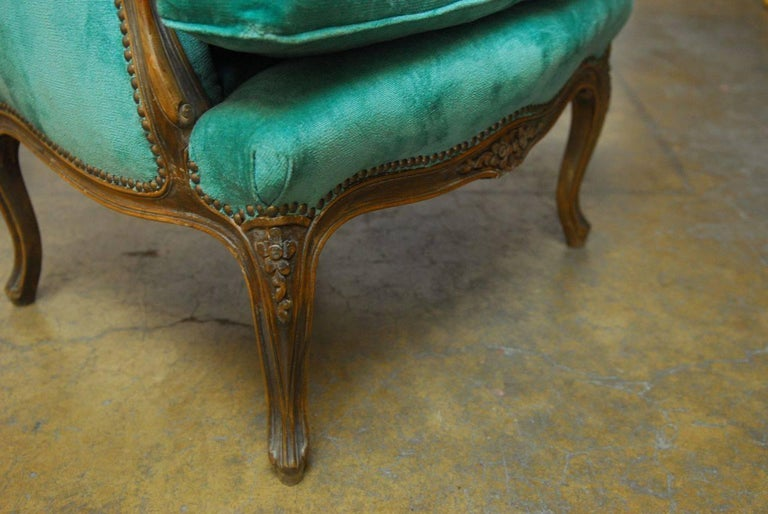 Pair of Louis XV Style Turquoise Velvet Wingback Bergères For Sale 1