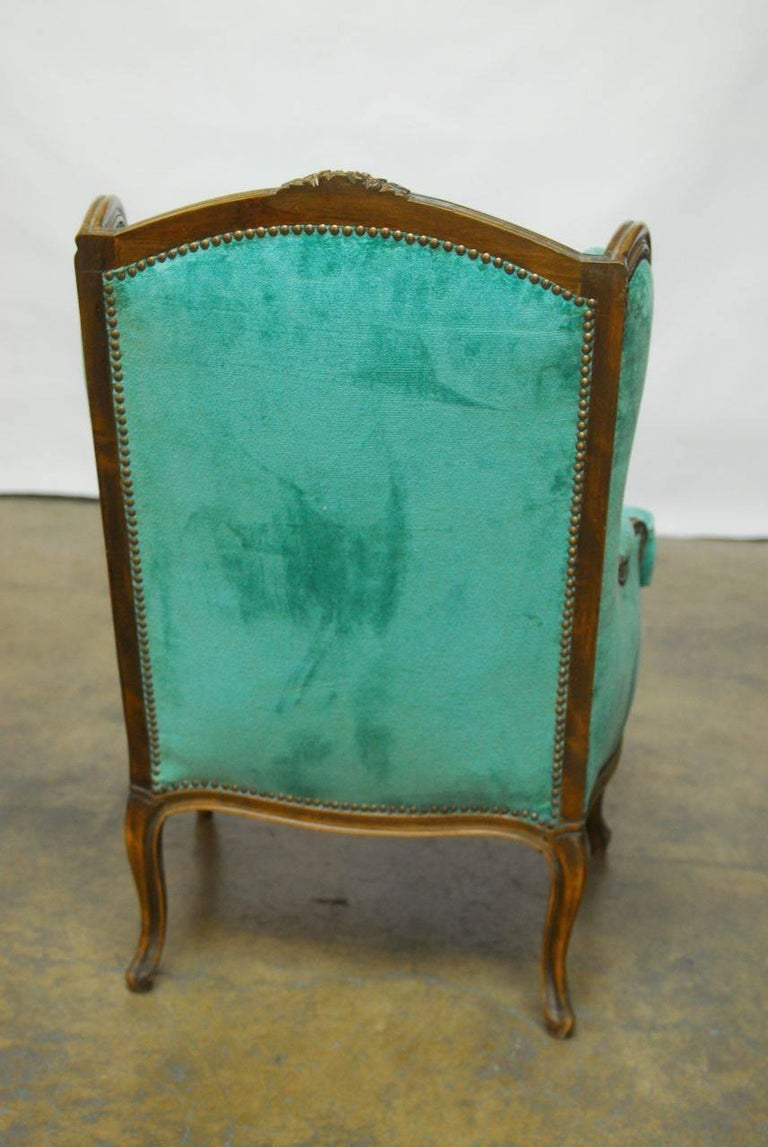 Pair of Louis XV Style Turquoise Velvet Wingback Bergères For Sale 2