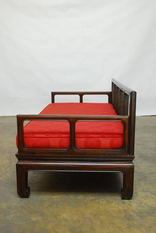 Exquisite Chinese Carved Rosewood Daybed Sofa Made In The Classic Ming Style.  Featuring A Geometric