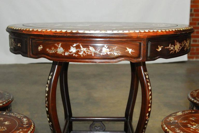 Hand Carved Chinese Rosewood Mother Of Pearl Inlay Tea Table With Stools For