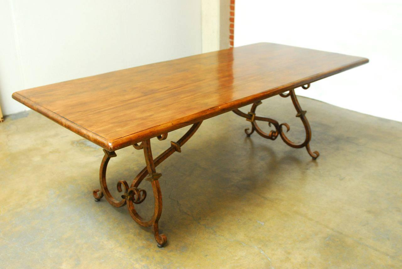 Spanish Colonial Trestle Table with Wrought Iron Scrolled ...