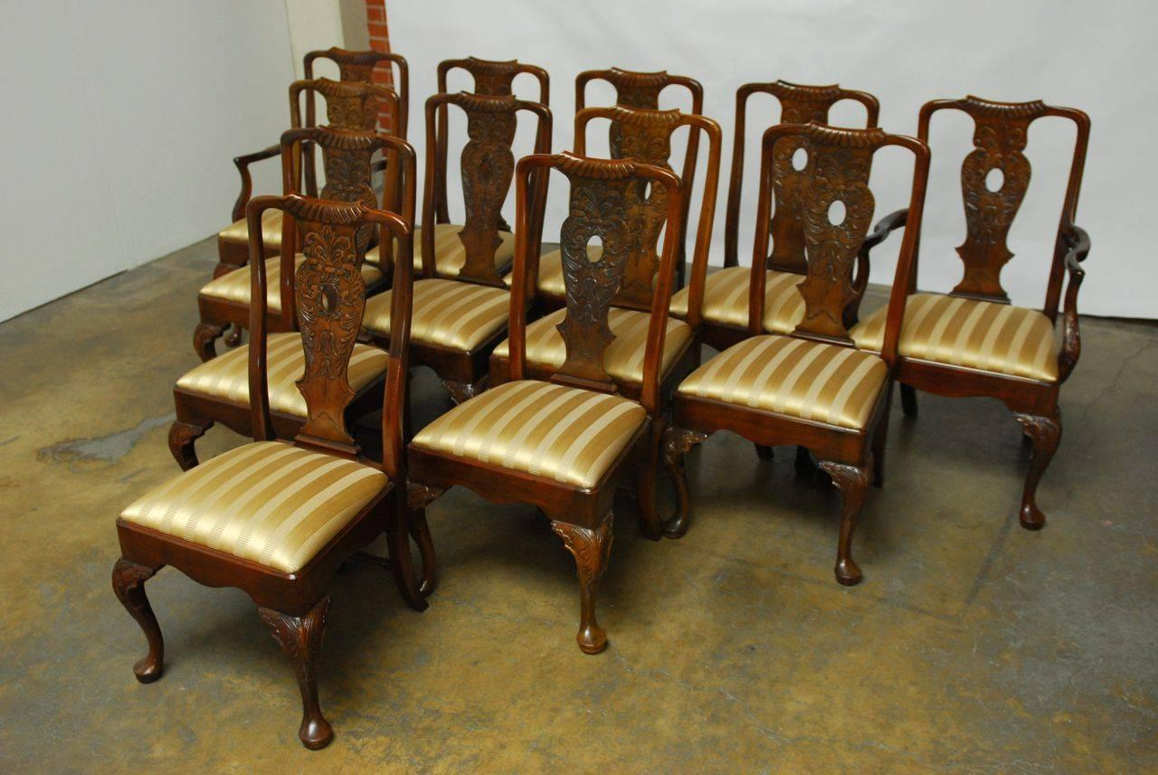 set of 12 carved mahogany georgian style dining chairs by