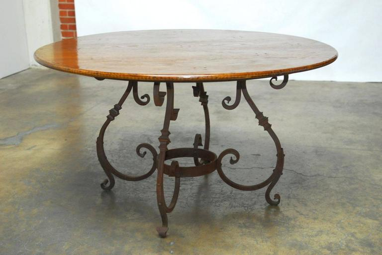 Italian Oak and Scrolled Iron Round Dining Table For Sale  : DSC0649l from www.1stdibs.com size 768 x 514 jpeg 41kB