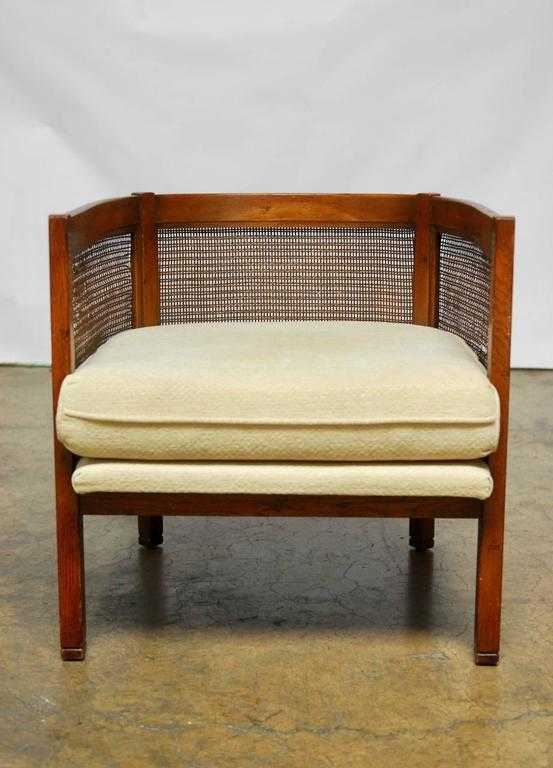 Pair Of Mid Century Cane Barrel Back Tub Chairs At 1stdibs