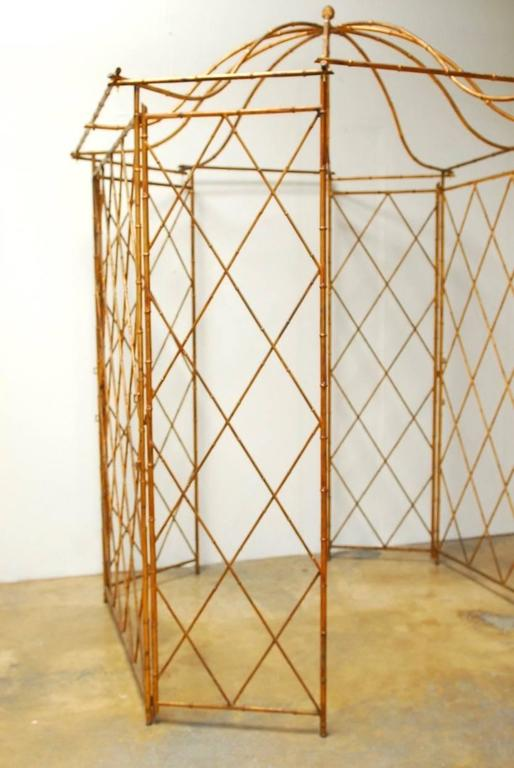 Gilt Metal Faux Bamboo Gazebo with Pagoda Roof In Good Condition For Sale In Oakland, CA