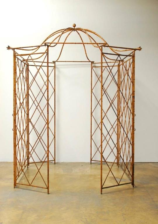 Gilt Metal Faux Bamboo Gazebo with Pagoda Roof For Sale 2