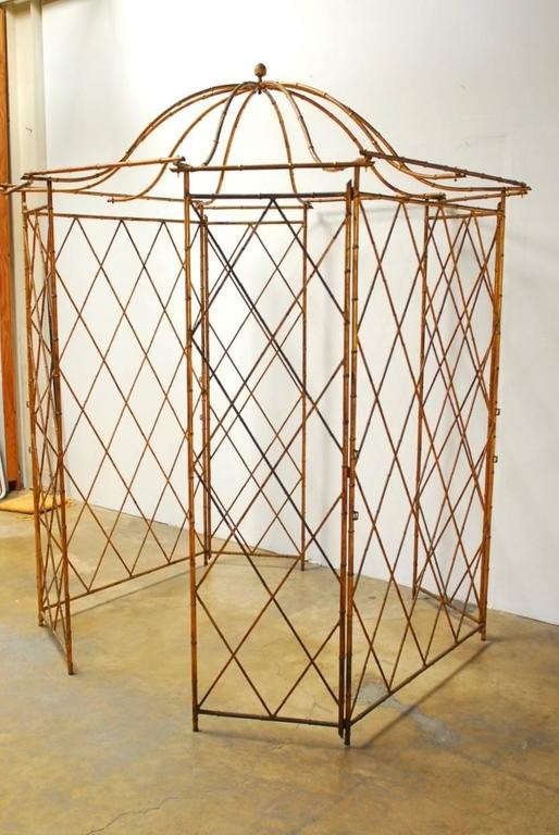Gilt Metal Faux Bamboo Gazebo with Pagoda Roof For Sale 3