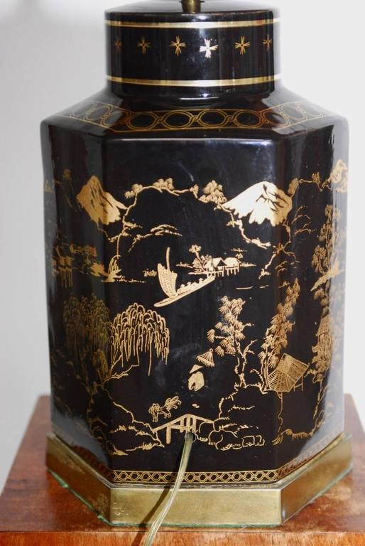 Chinese Porcelain Tole Tea Canister Table Lamp At 1stdibs