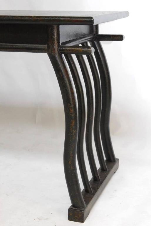 20th Century Chinese Lacquered Desk with Serpentine Legs For Sale