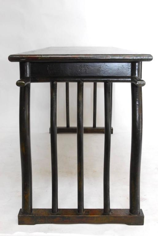 Hand-Crafted Chinese Lacquered Desk with Serpentine Legs For Sale