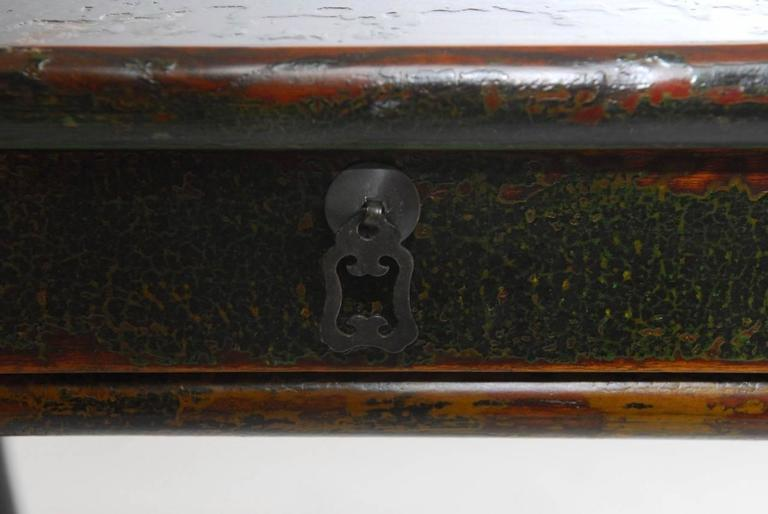 Brass Chinese Lacquered Desk with Serpentine Legs For Sale