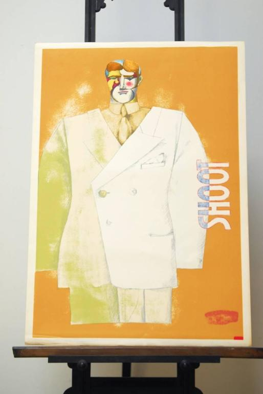 Unframed Richard Lindner (German/American 1901-1978) original hand signed in pencil lithograph #16 of a series of 100 dated and stamped lower right, 1971. Shoot (Front) from a series of two that includes shoot (Back). Also available signed and