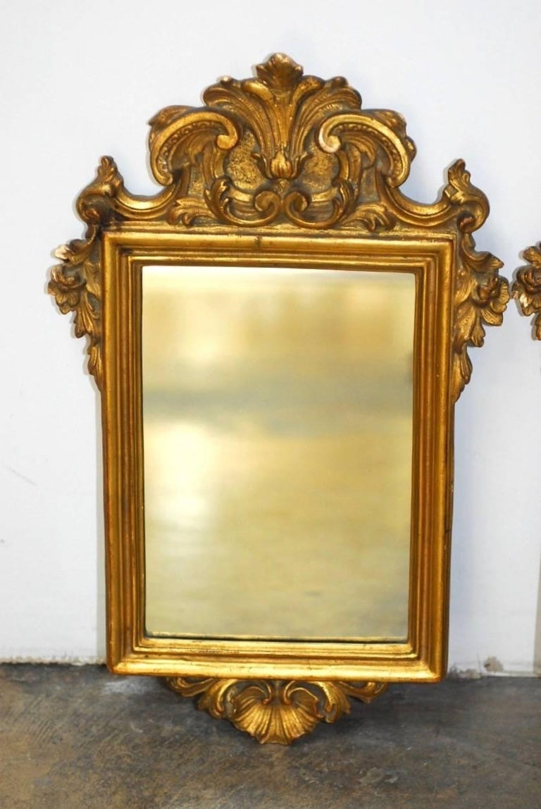 Hand-Crafted Pair of Italian Rococo Giltwood and Gesso Mirrors For Sale