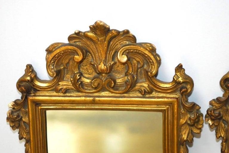 Pair of Italian Rococo Giltwood and Gesso Mirrors In Good Condition For Sale In Rio Vista, CA