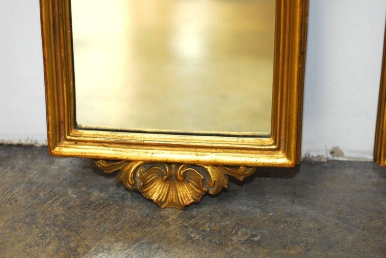 19th Century Pair of Italian Rococo Giltwood and Gesso Mirrors For Sale