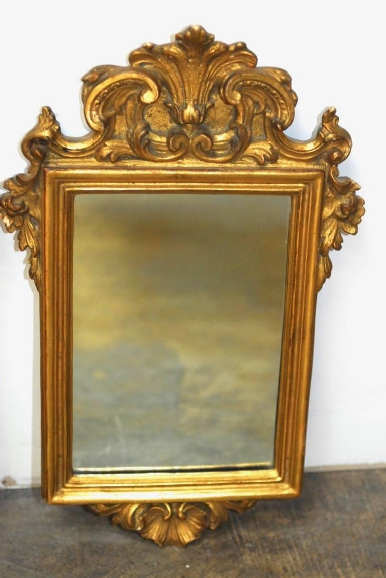 Pair of Italian Rococo Giltwood and Gesso Mirrors For Sale 1