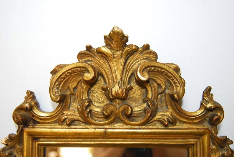 Pair of Italian Rococo Giltwood and Gesso Mirrors For Sale 2