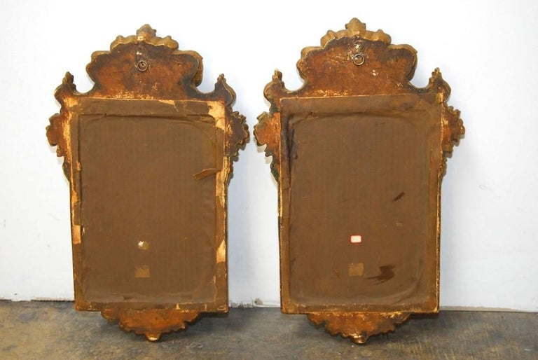 Pair of Italian Rococo Giltwood and Gesso Mirrors For Sale 3