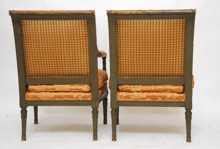 Pair of Louis XVI Painted Directoire Style Fauteuil Armchairs For Sale 3