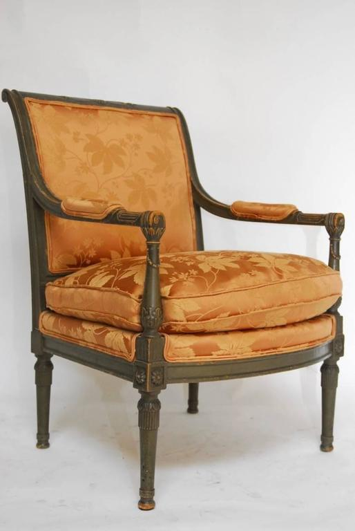 French Pair of Louis XVI Painted Directoire Style Fauteuil Armchairs For Sale