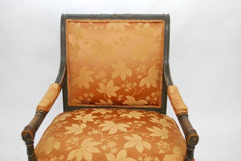 Pair of Louis XVI Painted Directoire Style Fauteuil Armchairs In Good Condition For Sale In Oakland, CA