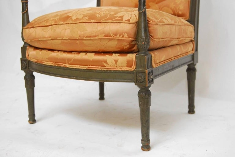 Fabric Pair of Louis XVI Painted Directoire Style Fauteuil Armchairs For Sale