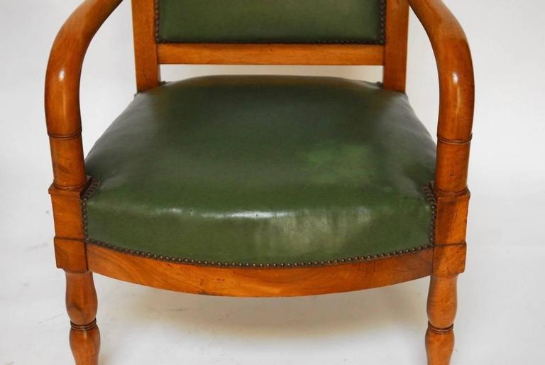 Hand-Crafted Pair of French Empire Mahogany Library Chairs For Sale