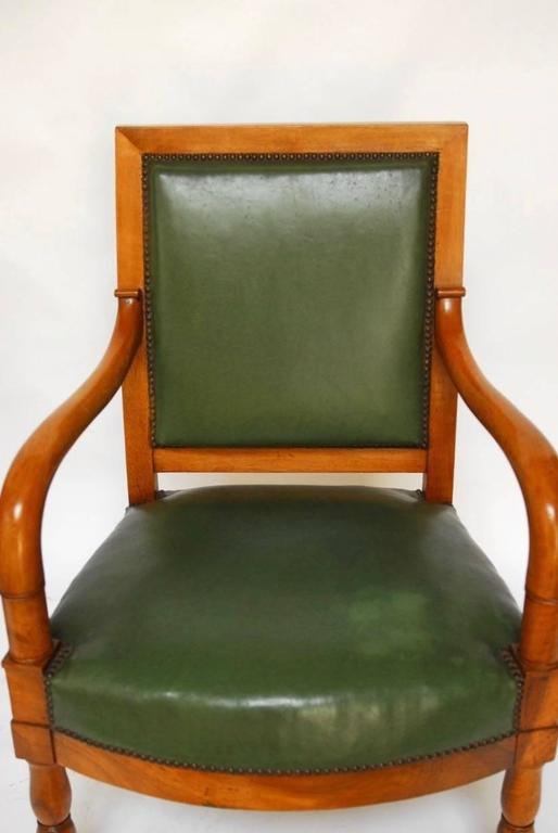 Pair of French Empire Mahogany Library Chairs In Excellent Condition For Sale In Oakland, CA