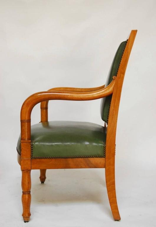 19th Century Pair of French Empire Mahogany Library Chairs For Sale