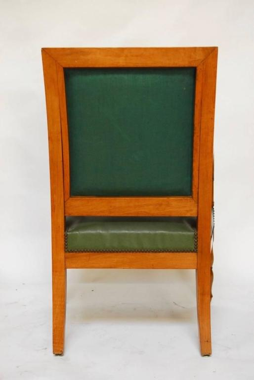 Brass Pair of French Empire Mahogany Library Chairs For Sale