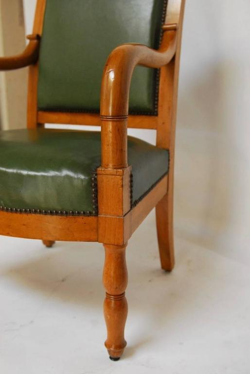 Pair of French Empire Mahogany Library Chairs For Sale 1
