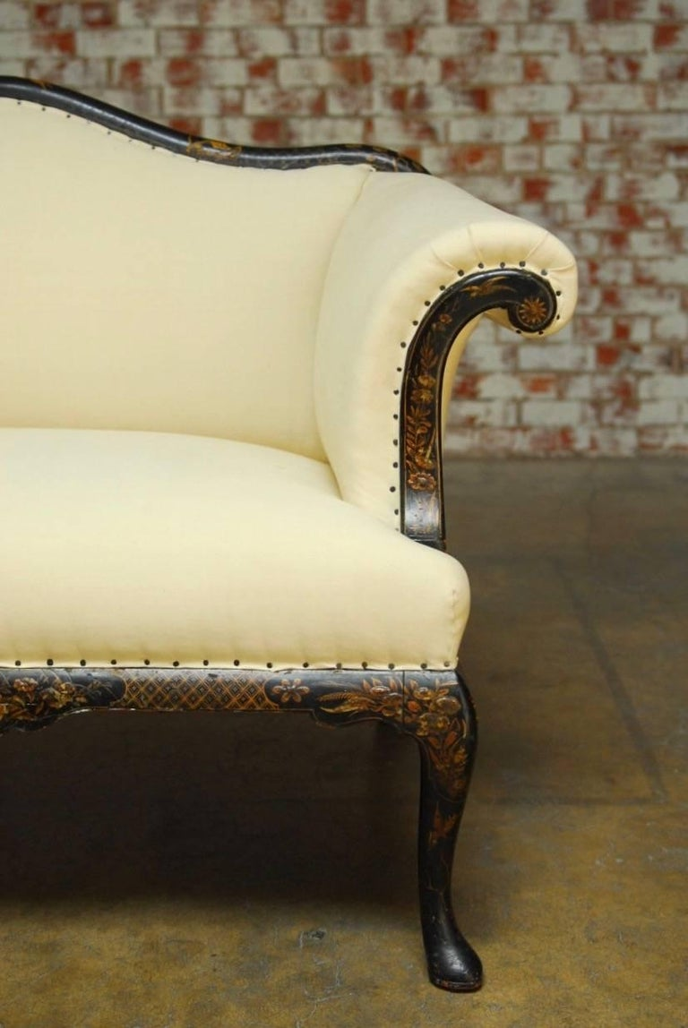19th Century Chinese Chippendale Black Lacquer Chinoiserie Sofa For Sale At 1stdibs