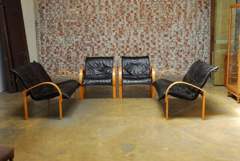 Four piece danish mid century bentwood and leather living for Living room suites for sale