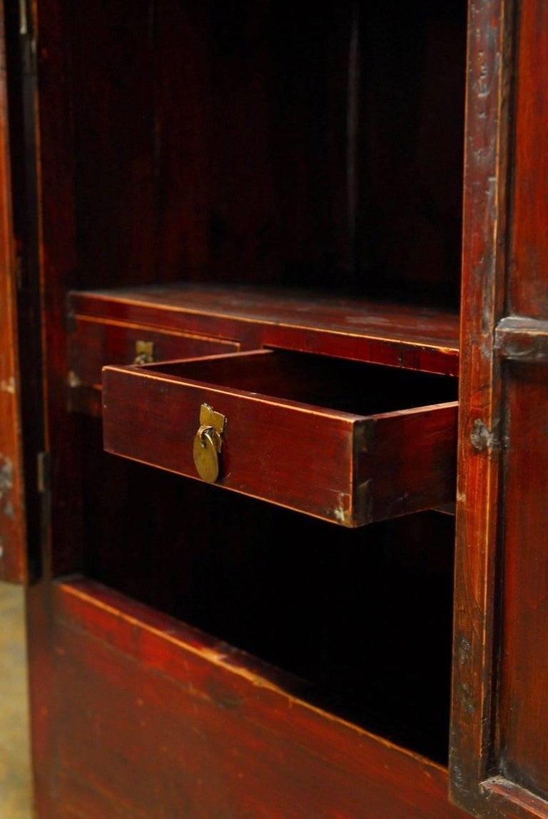 Chinese Red Lacquer Cabinet With Display Shelf For Sale At