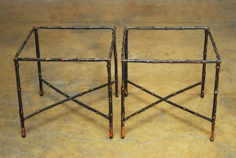 Pair of Black Lacquered Faux Bamboo Gilt Drink Tables 2