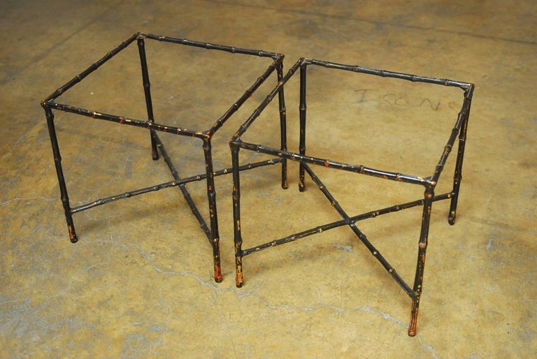 Pair of Black Lacquered Faux Bamboo Gilt Drink Tables 3