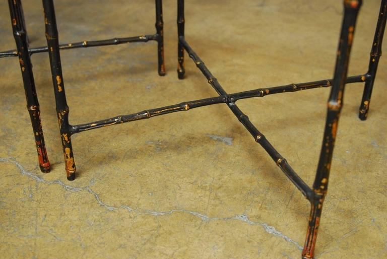 Italian Pair of Black Lacquered Faux Bamboo Gilt Drink Tables For Sale