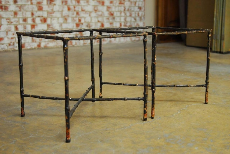 Pair of Black Lacquered Faux Bamboo Gilt Drink Tables 8
