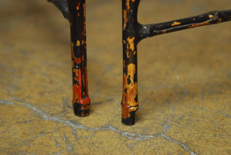 Pair of Black Lacquered Faux Bamboo Gilt Drink Tables For Sale 2