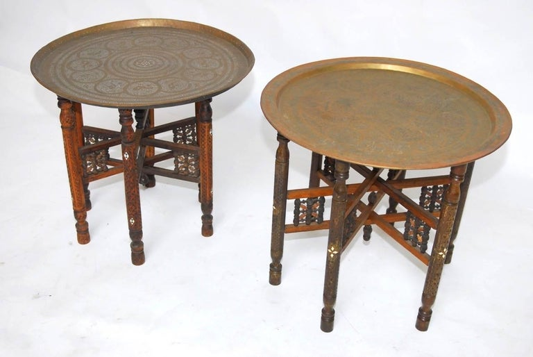Moorish Pair of Moroccan Brass Tray and Wood Drink Tables For Sale