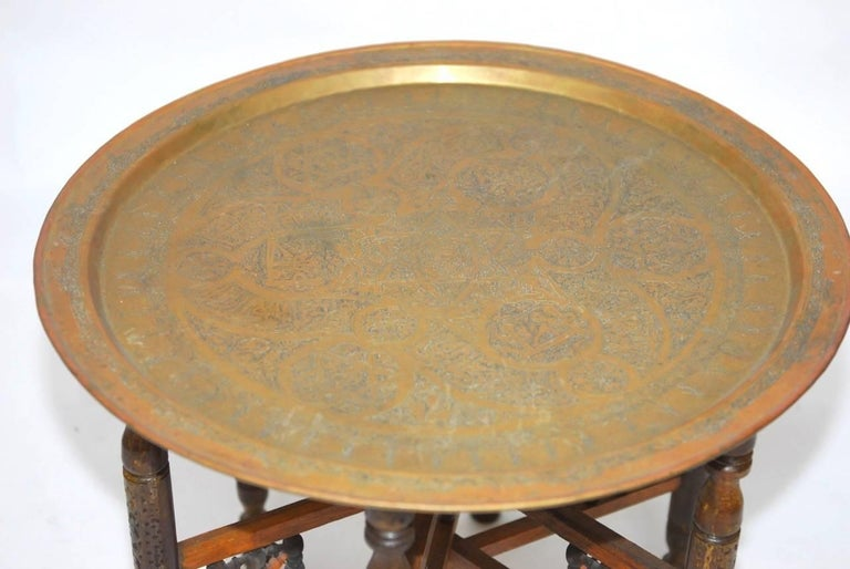 Pair of Moroccan Brass Tray and Wood Drink Tables For Sale 1