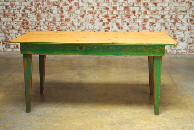 Rustic French Pine Painted Farmhouse Table For Sale at 1stdibs