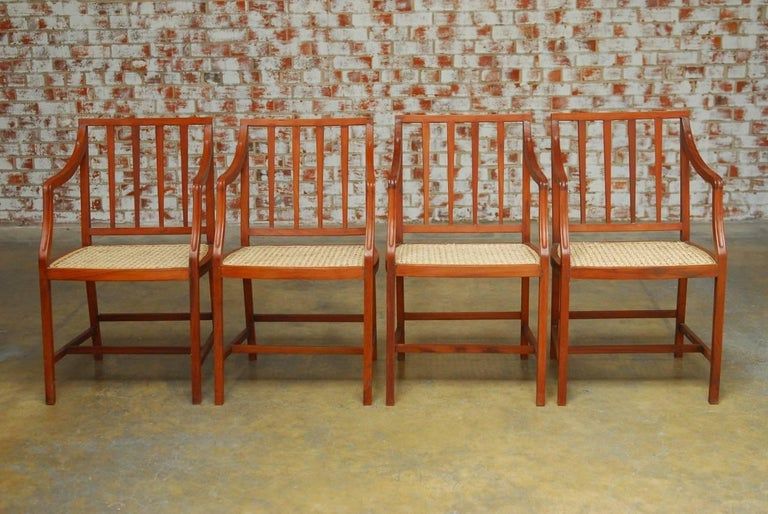 Set of four slat back caned dining chairs for sale at 1stdibs for Long back dining chairs