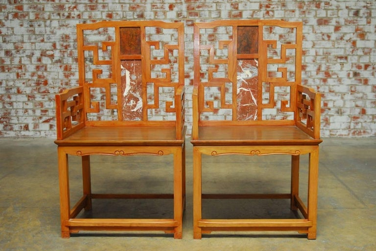 Hand-Carved Pair of Chinese Ming Style Armchairs with Dali Marble Inset For Sale
