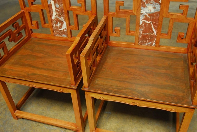 20th Century Pair of Chinese Ming Style Armchairs with Dali Marble Inset For Sale
