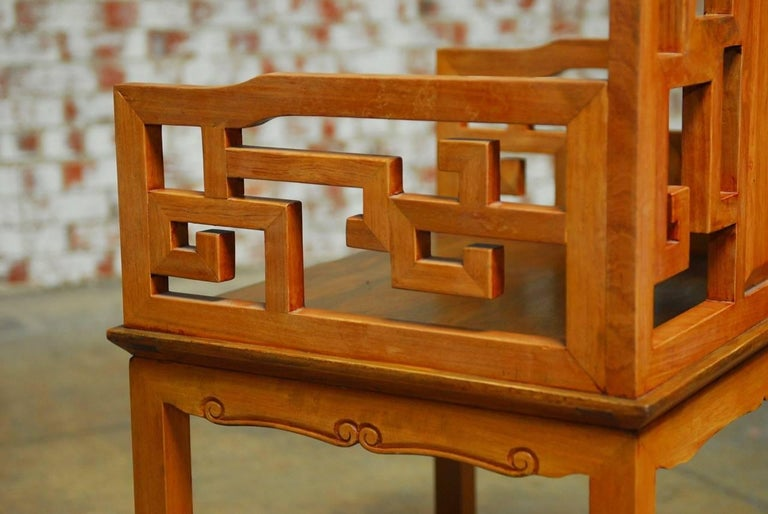 Pair of Chinese Ming Style Armchairs with Dali Marble Inset For Sale 4