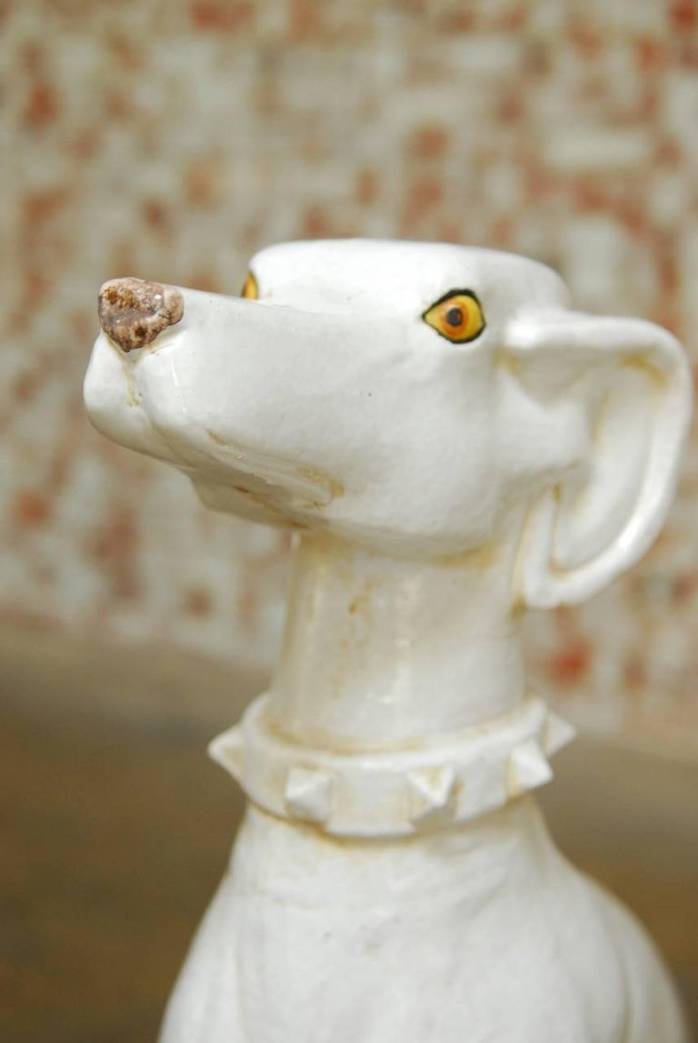 Hand-Crafted Mid-Century Modern Italian Ceramic Greyhound Dog Sculpture For Sale