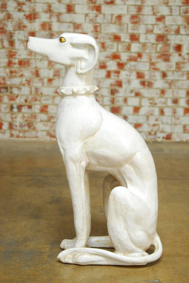 20th Century Mid-Century Modern Italian Ceramic Greyhound Dog Sculpture For Sale